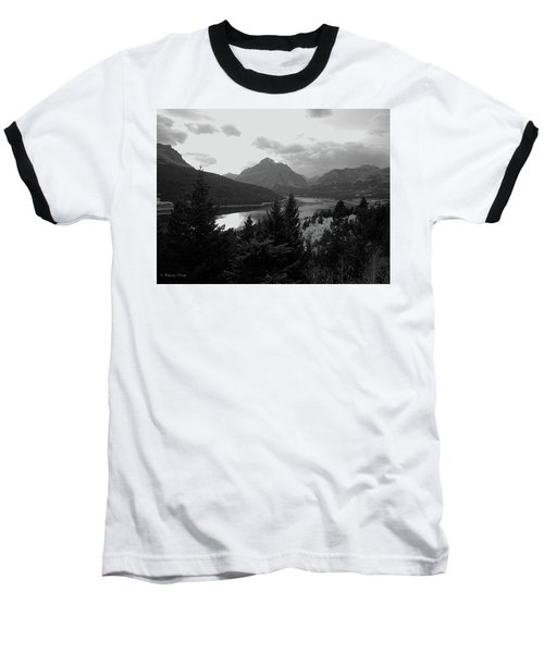 Lower Two Medicine Lake In Black And White Baseball T-Shirt