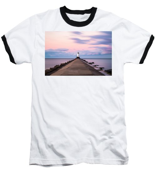 Baseball T-Shirt featuring the photograph Ludington North Breakwater Light Sunrise by Adam Romanowicz