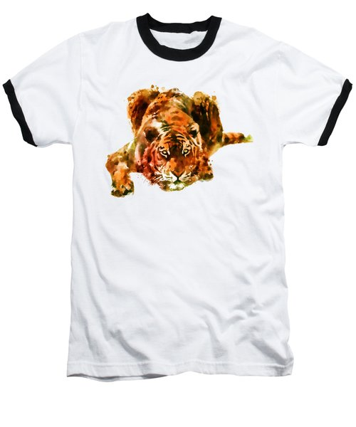 Lurking Tiger Baseball T-Shirt by Marian Voicu