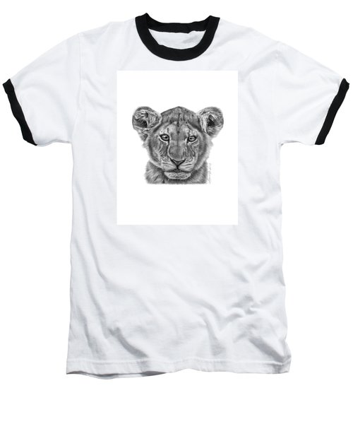 Baseball T-Shirt featuring the drawing Lyla The Lion Cub by Abbey Noelle
