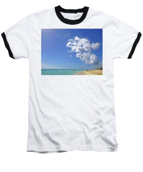 Baseball T-Shirt featuring the digital art M Day At The Beach 2 by Francesca Mackenney