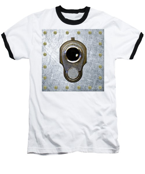 M1911 45 Framed With 45 Case Heads Baseball T-Shirt by M L C