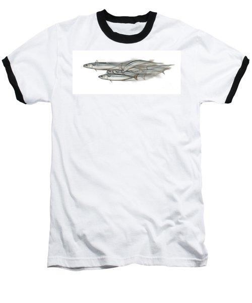 Mackerel School Of Fish - Scomber - Nautical Art - Seafood Art - Marine Art -game Fish Baseball T-Shirt