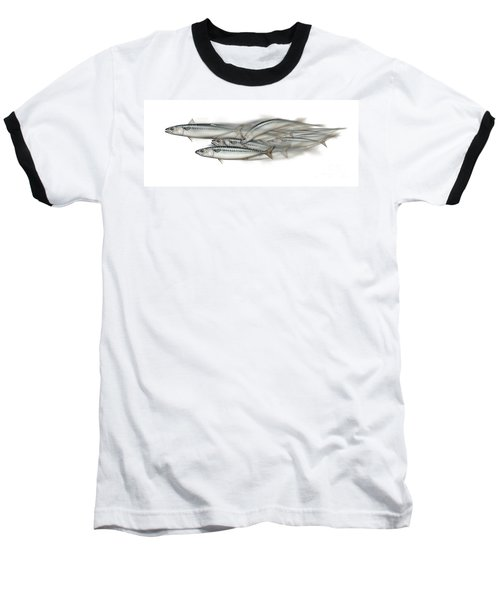 Mackerel School Of Fish - Scomber - Nautical Art - Seafood Art - Marine Art -game Fish Baseball T-Shirt