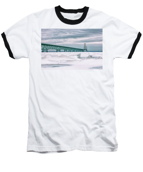 Baseball T-Shirt featuring the photograph Mackinac Bridge In Winter During Day by John McGraw