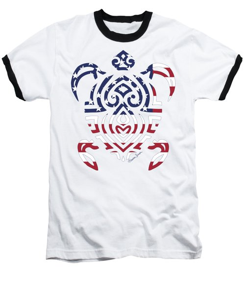Made In The Usa Tribal Turtle Baseball T-Shirt