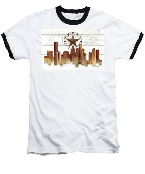 Made-to-order Houston Texas Skyline Wall Art Baseball T-Shirt