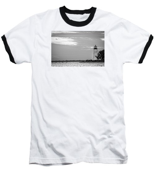 Baseball T-Shirt featuring the photograph Madisonville Lighthouse In Black-and-white 2 by Andy Crawford