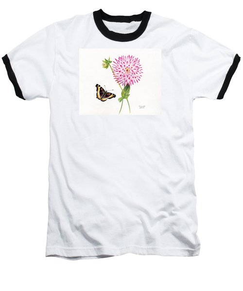 Magenta Dahlia With Butterfly Baseball T-Shirt