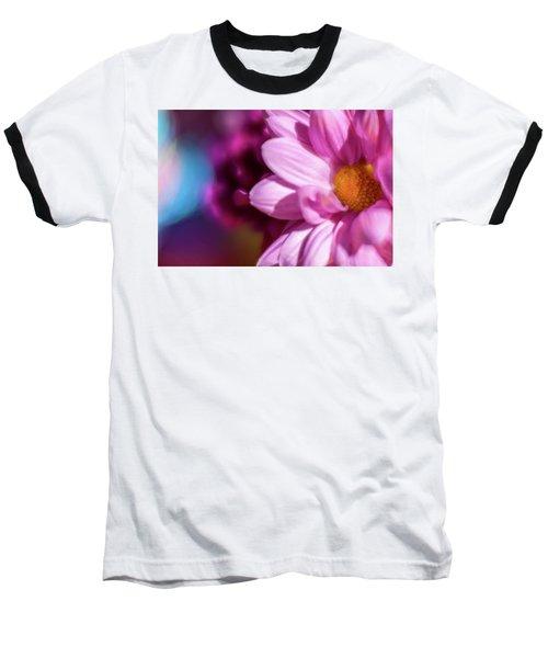 Magenta Floral On Blue Baseball T-Shirt