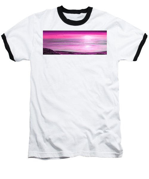 Magenta Panoramic Sunset Baseball T-Shirt