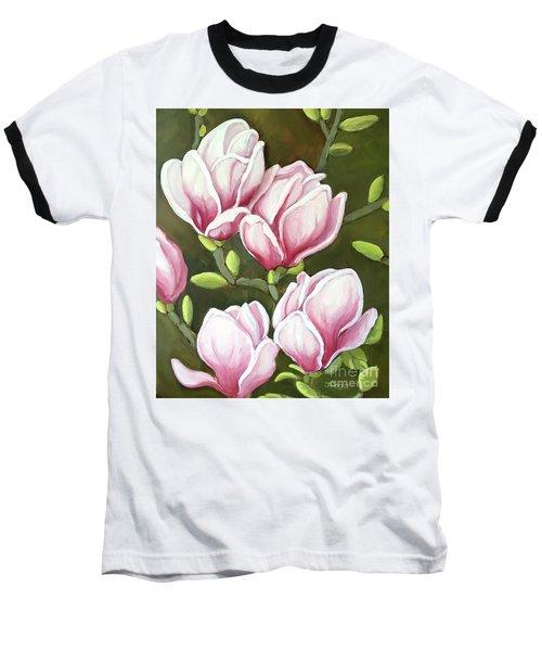 Magnolias Baseball T-Shirt by Inese Poga