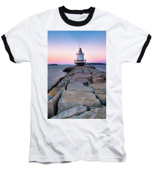 Maine Coastal Sunset Over The Spring Breakwater Lighthouse Baseball T-Shirt