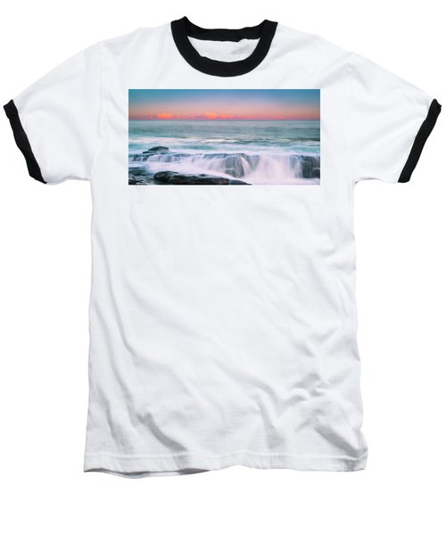 Maine Rocky Coastal Sunset Panorama Baseball T-Shirt