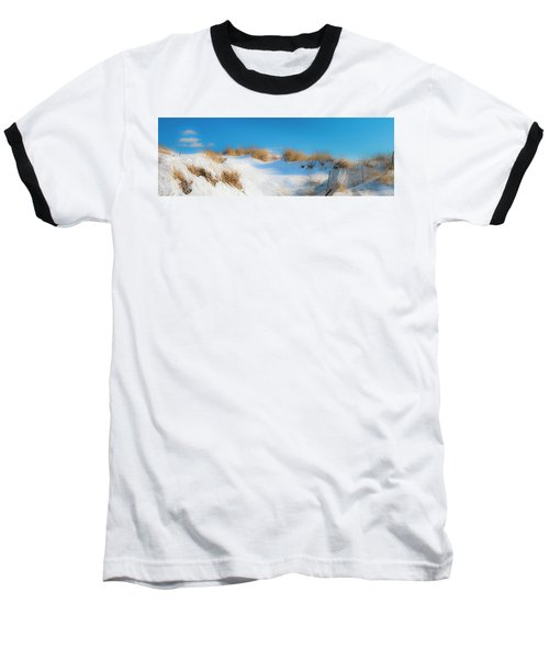 Maine Snow Dunes On Coast In Winter Panorama Baseball T-Shirt by Ranjay Mitra