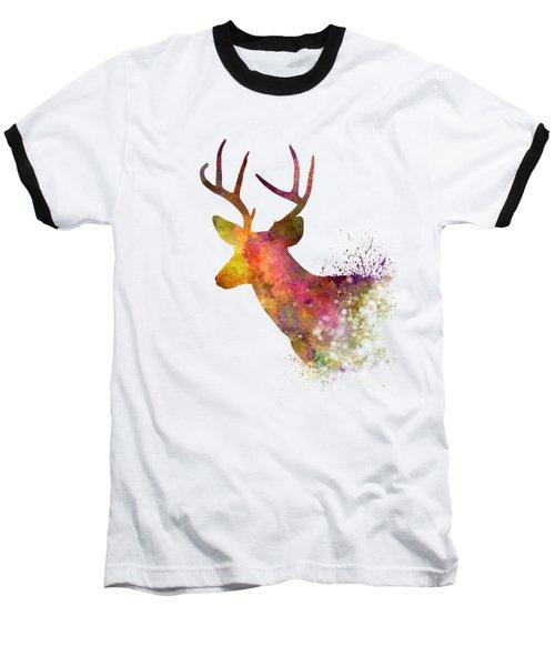 Male Deer 02 In Watercolor Baseball T-Shirt by Pablo Romero