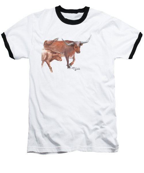 Mama And Baby Longhorn On The Run Baseball T-Shirt by Kathleen McElwaine