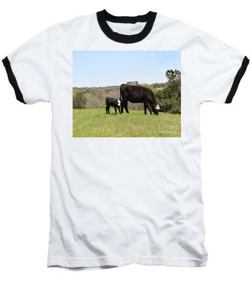 Mama Cow And Calf In Texas Pasture Baseball T-Shirt