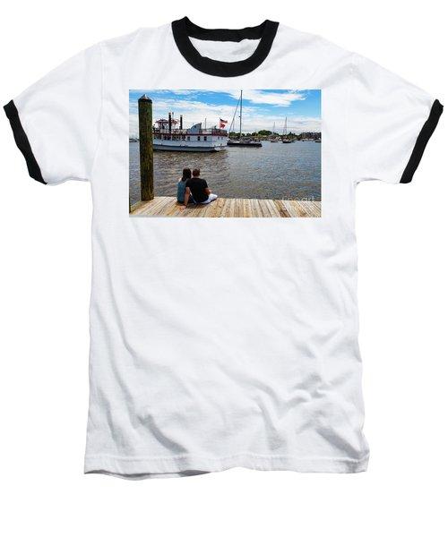 Man And Woman Sitting On The Dock Baseball T-Shirt