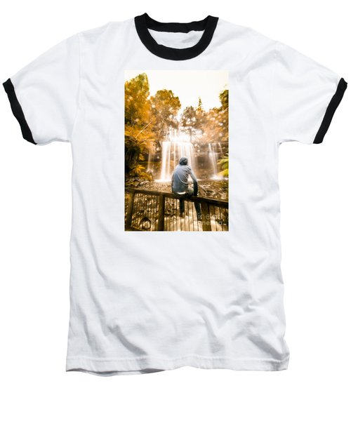 Baseball T-Shirt featuring the photograph Man Looking At Waterfall by Jorgo Photography - Wall Art Gallery