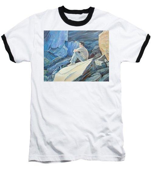 Man On The Rocks Baseball T-Shirt