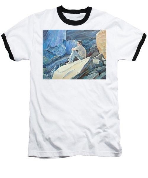 Man On The Rocks Baseball T-Shirt
