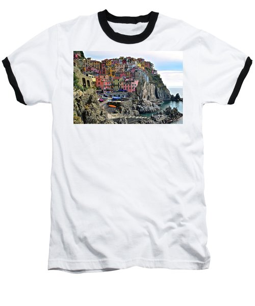 Baseball T-Shirt featuring the photograph Manarola Version Four by Frozen in Time Fine Art Photography
