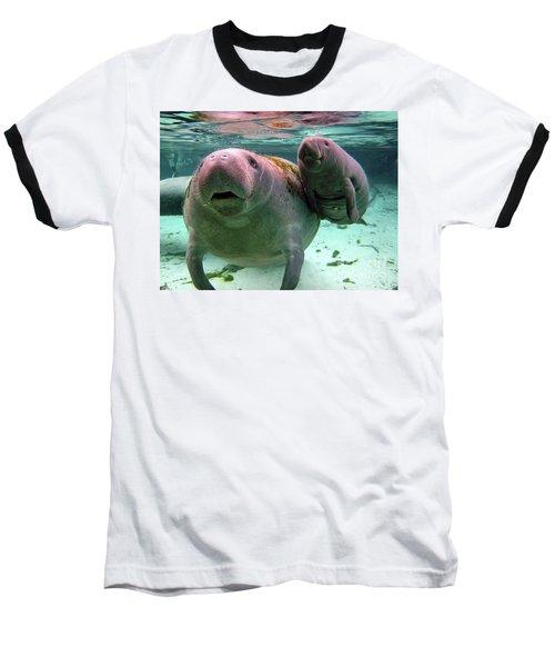 Manatee Mom And Calf Baseball T-Shirt