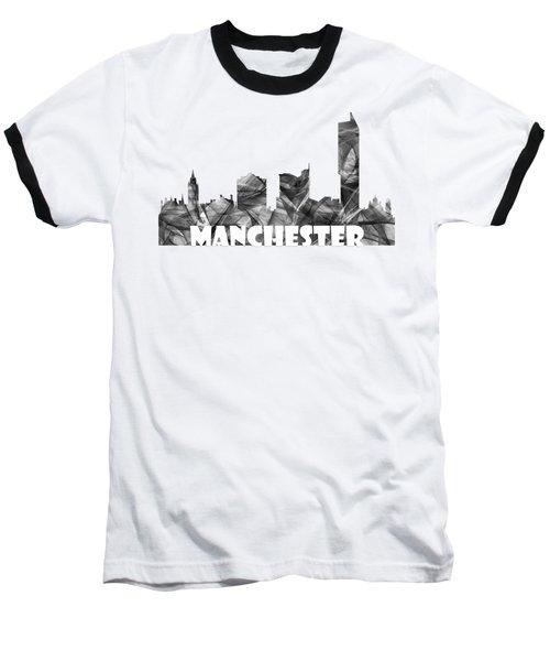 Manchester England Skyline Baseball T-Shirt