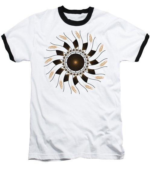 Baseball T-Shirt featuring the digital art Mandala Black And Gold by Linda Lees