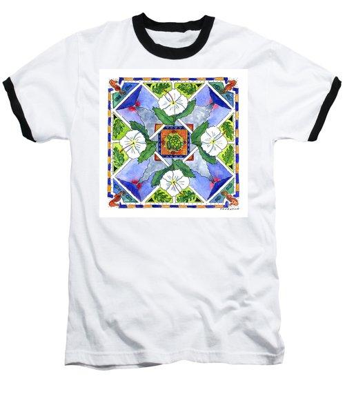 Mandala IIi - White Hibiscus Baseball T-Shirt