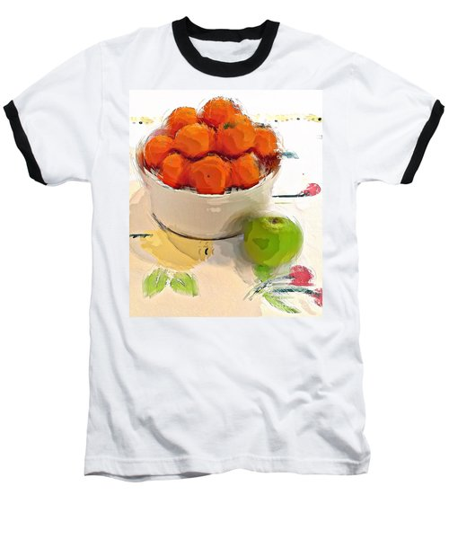 Baseball T-Shirt featuring the digital art Mandarin With Apple by Alexis Rotella