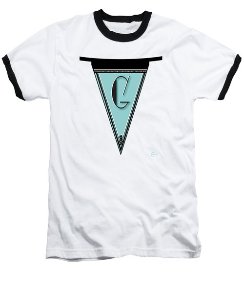 Pennant Deco Blues Banner Initial Letter G Baseball T-Shirt by Cecely Bloom