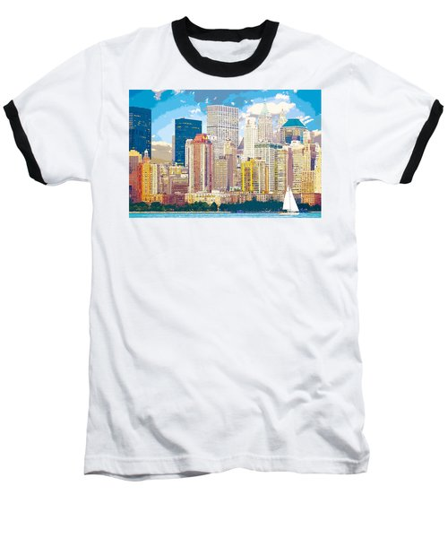 Manhattan Skyline New York City Baseball T-Shirt