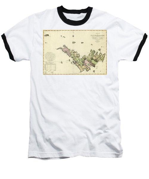 Map Of Saint Barts 1801 Baseball T-Shirt