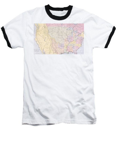 Map Showing The Localities Of The Indian Tribes Of The Us In 1833 Baseball T-Shirt