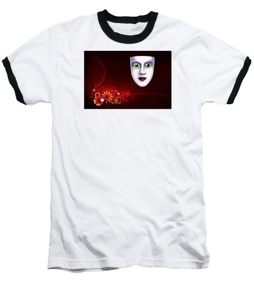 Baseball T-Shirt featuring the photograph Mardi Gras Mask Red Vines by Gary Crockett