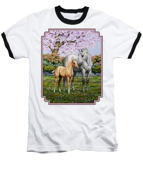 Mare And Foal Pillow Pink Baseball T-Shirt