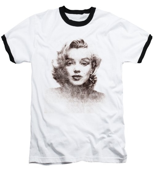 Marilyn Monroe Portrait 04 Baseball T-Shirt by Pablo Romero