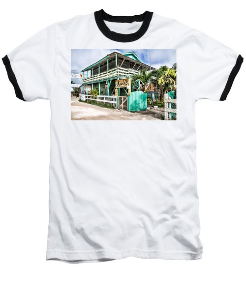 Baseball T-Shirt featuring the photograph Marin's On Caye Caulker by Lawrence Burry