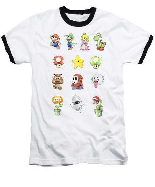 Mario Characters In Watercolor Baseball T-Shirt