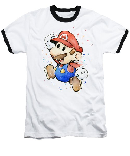 Mario Watercolor Fan Art Baseball T-Shirt