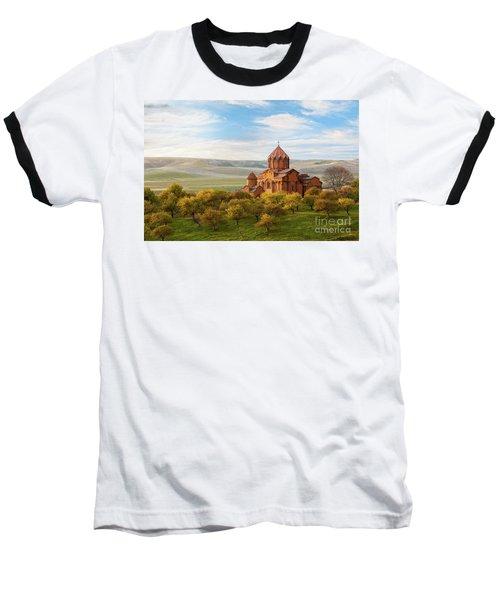 Marmashen Monastery Surrounded By Yellow Trees At Autumn, Armeni Baseball T-Shirt by Gurgen Bakhshetsyan