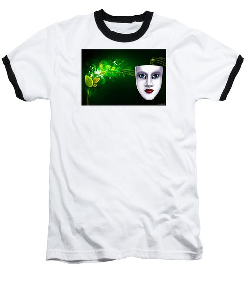 Baseball T-Shirt featuring the photograph Mask Blue Eyes On Green Vines by Gary Crockett