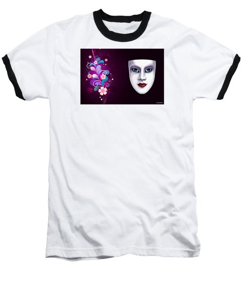 Baseball T-Shirt featuring the photograph Mask With Blue Eyes Floral Design by Gary Crockett