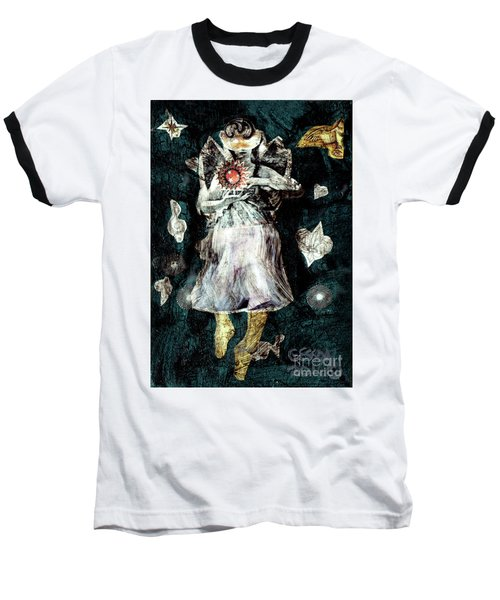 Baseball T-Shirt featuring the painting Masked Angel Holding The Sun by Genevieve Esson