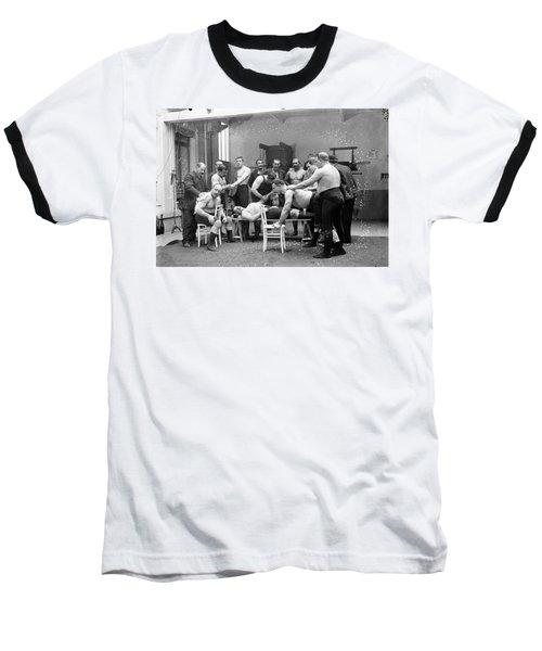 Massage Between Wrestlers Training 1904 Baseball T-Shirt