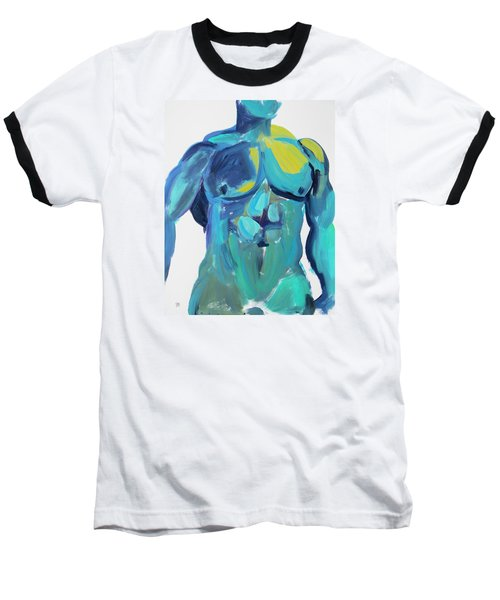 Baseball T-Shirt featuring the painting Massive Hunk Blue-green by Shungaboy X