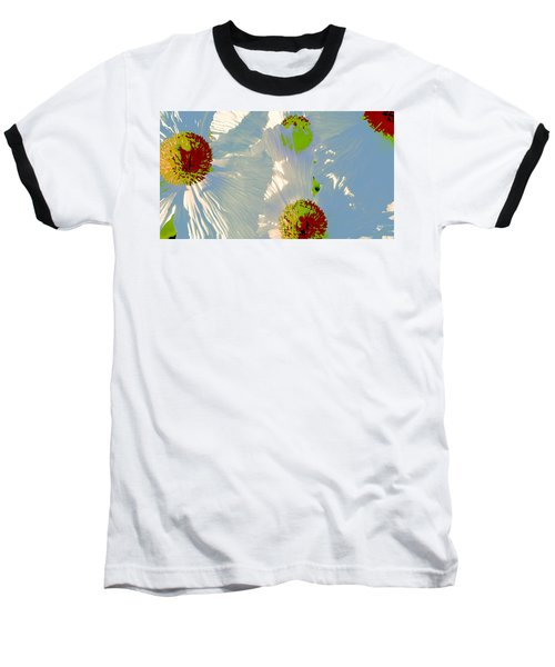Baseball T-Shirt featuring the photograph Matilija Poppies Pop Art by Ben and Raisa Gertsberg