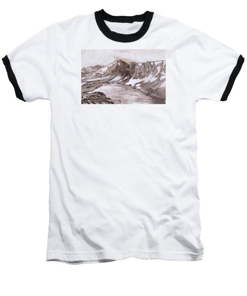 Baseball T-Shirt featuring the painting Medicine Bow Peak Historical Vignette by Dawn Senior-Trask